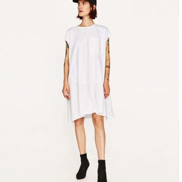 7a38c088941947 NWT Zara White Oversized Drop Waist T Shirt Dress
